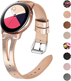 EZCO Leather Bands Compatible with Samsung Galaxy Watch Active 2 / Active/Gear Sport/Galaxy Watch 42mm, Soft Genuine Leather Watch Band Strap Replacement Wristband Accessories Women Man