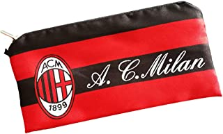 Football Club Soccer Team Logo Pencil Cases with Zipper Pencil Holder Portable Pencils Pens Bag Pouch for School & Office (AC Milan)