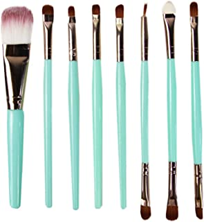 STELLAIRE CHERN Essential Makeup Brush Set 8 PCS Professional Make up Brush Set Synthetic Foundation Blending Concealer Powder Cream Cosmetics Makeup Brushes Kit - Green