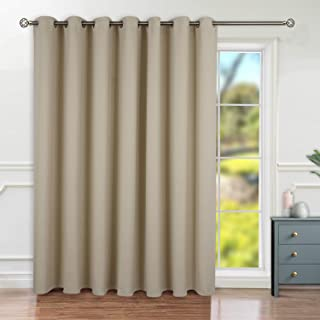 BGment Privacy Blackout Curtains for Sliding Glass Door, Grommet Thermal Insulated Darkening Room Divider Curtain for Living Room, 1 Panel (8.3ft Wide x 7ft Tall, Beige)