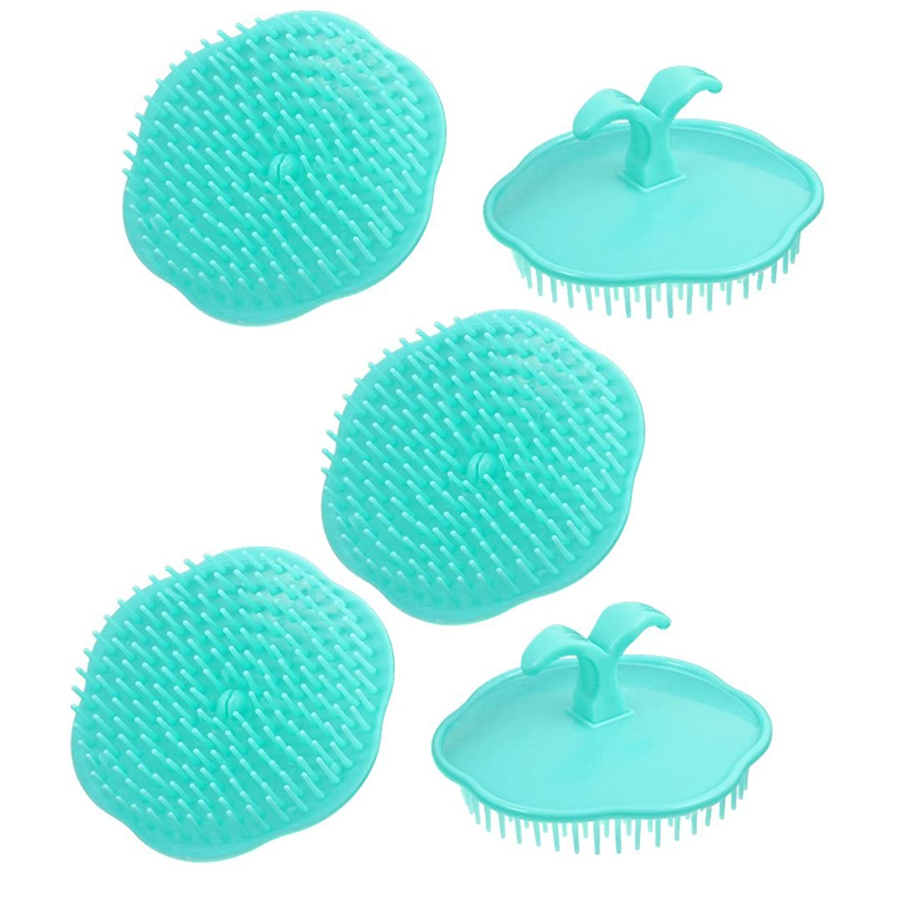 未満会計青uxcell シャンプーブラシ 洗髪櫛 マッサージャー プラスチック シアン 5個