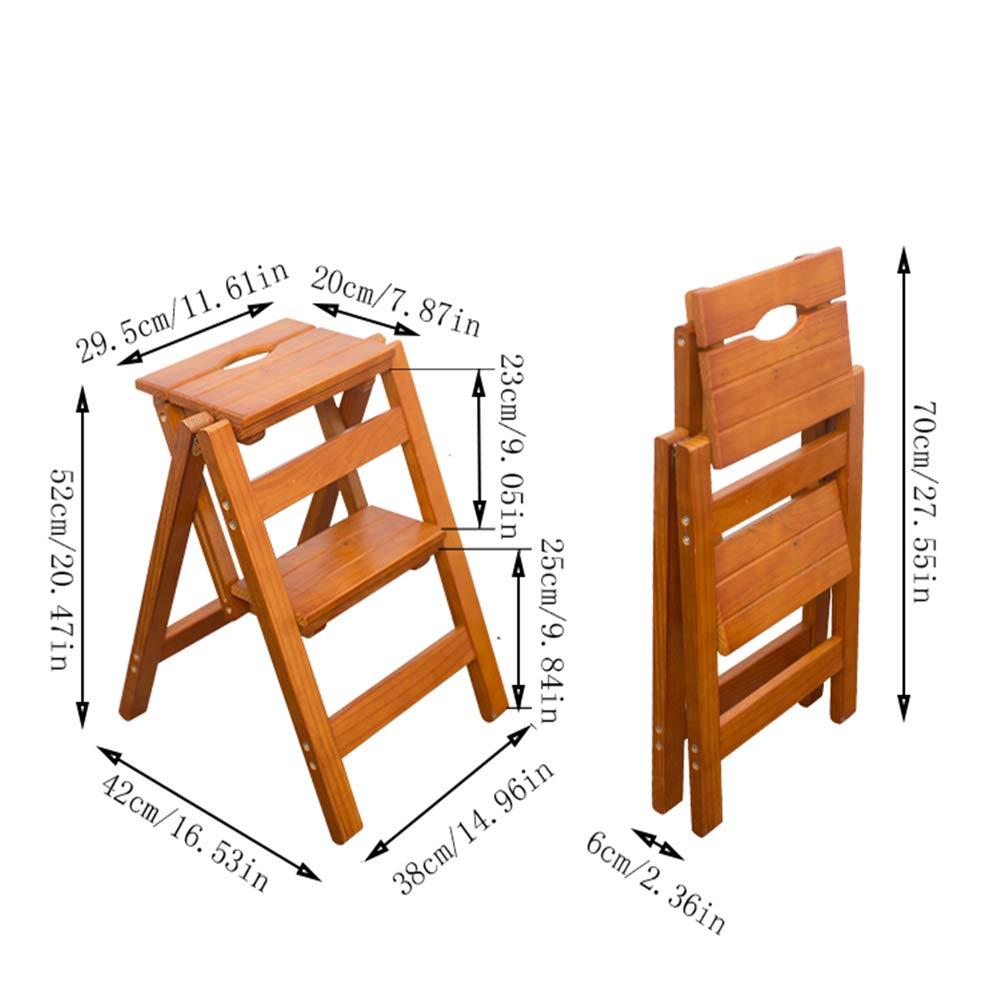 DQM Práctica y Conveniente Silla de Escalera Plegable de Madera para el hogar, Taburete Plegable de Madera Maciza Multifuncional, se Puede Usar como Escalera y Taburete, portátil,: Amazon.es: Hogar