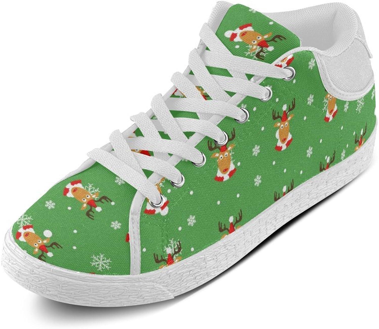 CERLYRUAN Christmas Snowflakes Elk Canvas Chukka Canvas Women's shoes