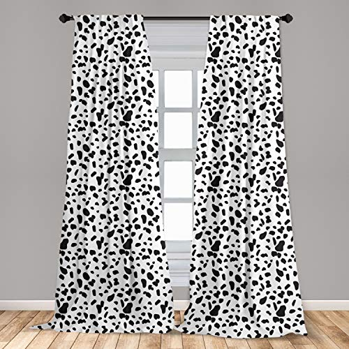"""Lunarable Abstract Window Curtains, Dalmatian Spots Shapeless Geometric in Minimalist Tones Image, Lightweight Decorative Panels Set of 2 with Rod Pocket, 56"""" x 63"""", Charcoal White"""