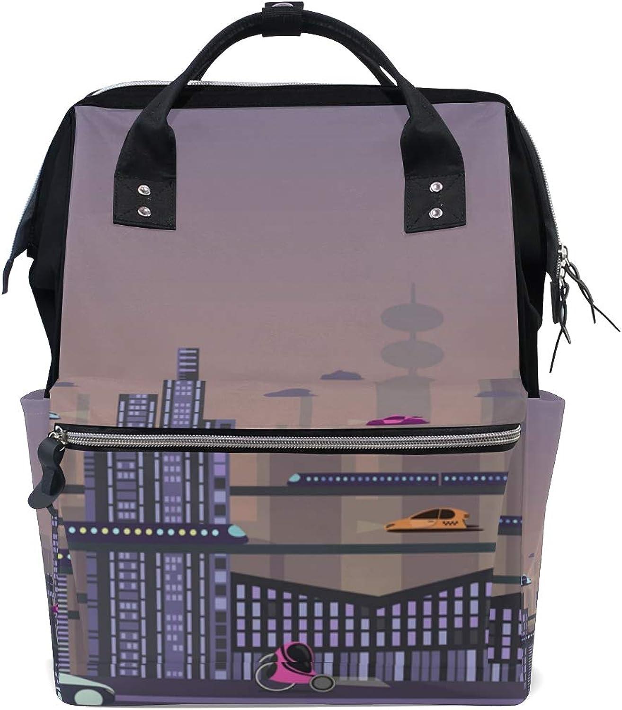 DEZIRO Canvas Future City Landscape School Pack Backpacks Travel Bag