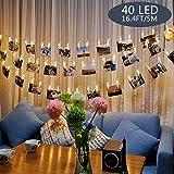 Tomshine Clip Cadena de Luces LED, 40LEDs 5m Fotoclips Guirnalda de Luces para Decoración de Fotos