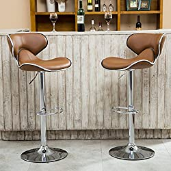 Roundhill Furniture Masaccio Cushioned Leatherette Upholstery Airlift Adjustable Swivel Barstool