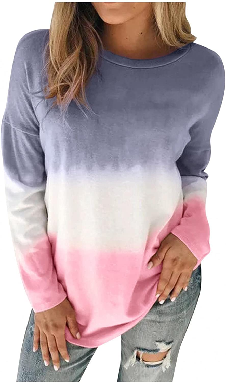 Tie Dye Sweatshirts Women,Womens Fashion Casual Sweatshirt Crewneck Long Sleeve Tie Dye Colorful Fall Shirt Pullover