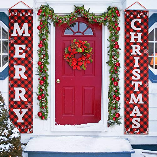 "Porch Christmas Decorations, Merry Christmas Banner, Christmas Porch Sign - Large Christmas Front Door Decorations Outdoor, Red Plaid Christmas Decor Outside, Christmas Yard Signs - 71""x14"""