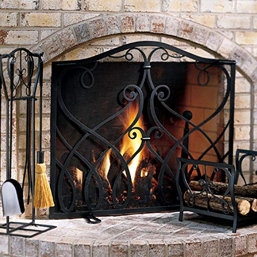 Best Deals! fireplace screen LXLA Flat Panel with Black Mesh, Wrought Iron Fire Spark Guard for Baby...