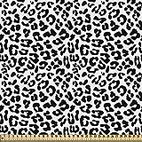 ABAKUHAUS Estampado De Leopardo Tela por Metro, Salvaje Animales Abstracto, Decorativa para Tapicería y Textiles del Hogar, 1M (148x100cm), Blanco Negro