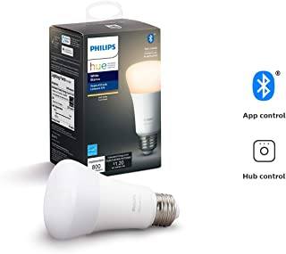 Philips Hue White A19 LED Smart Bulb, Bluetooth & Zigbee compatible (Hue Hub Optional), Works with Alexa & Google Assistant – A Certified for Humans Device (Renewed)