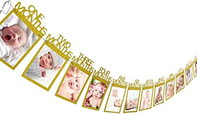 Amazon.com: Marco de fotos de cristal para 12 meses de bebé ...