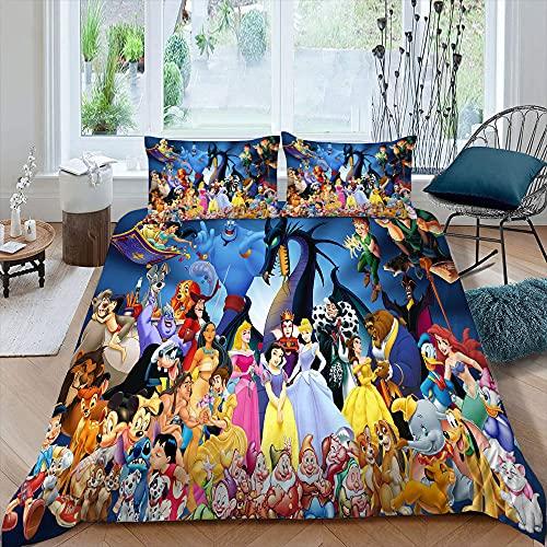 Colección de ropa de cama de 3 piezas, incluye 1 funda de edredón y 2 fundas de almohada Mic-key M-inne para niños y niñas, tamaño individual