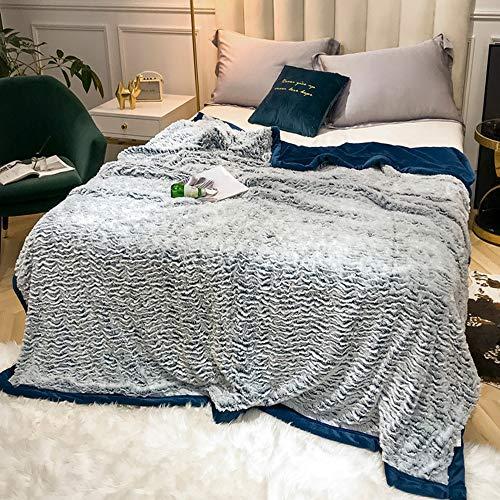 FGDSA Mantas de lana grandes, manta de terciopelo plateado, súper suave, cálida, ligera, acogedora, plegable, doble uso, manta de franela gruesa de color sólido para cama y sofá