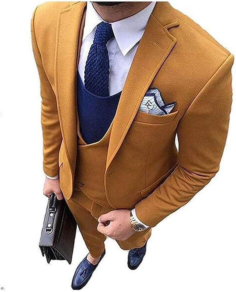 Men's Peak Lapel Wedding Suits 3 PC Regular Fit One Button Men Suits Prom Suits Groom Tuxedos