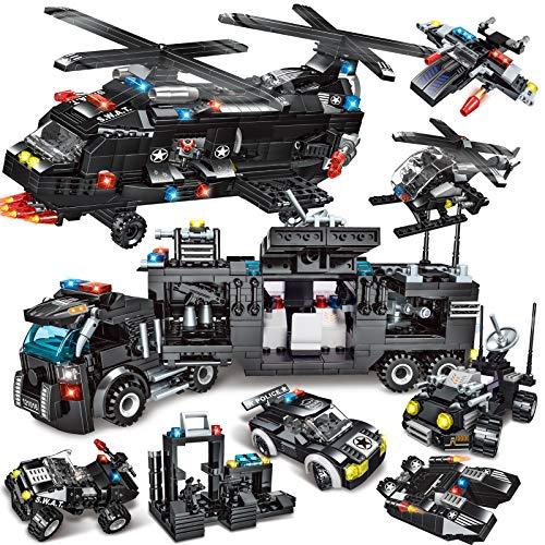 City Polizei Spielzeug Bausteine, 1604 Teile 34 in 1 SWAT Polizeiauto Spielzeug, Auto Bausteine Spielzeug für Kinder Ab 6 7 + Jahren, Lernspielzeug mit Polizei Hubschrauber & Polizei Motorrad Kinder
