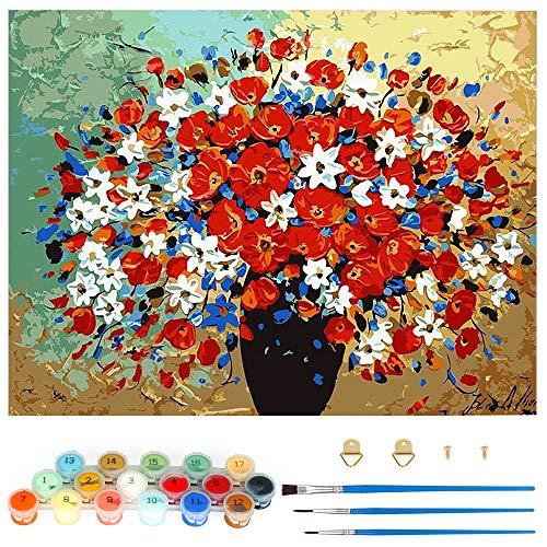 Pintar por Numeros, Pintura por Números Hermosas Flores Kits, Cuadro Pintar con Numeros para Adultos/Niños, Pintar por Números Decoraciones para el Hogar (Sin Marco, 40x50CM)