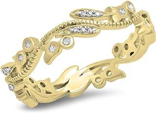 0.20 Carat (ctw) 18K Gold Round White Diamond Vintage Style Wedding Eternity Stackable Ring 1/5 CT