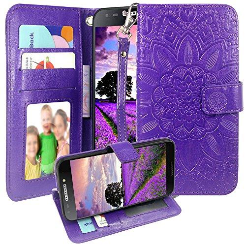 Harryshell for T-Mobile Revvl 5049W / Alcatel A30 Fierce 2017 (MetroPCS) / Alcatel A30 Plus/Alcatel Walters Kickstand Flip PU Wallet Leather Protective Case Cover W Card Slot Wrist Strap (Purple)
