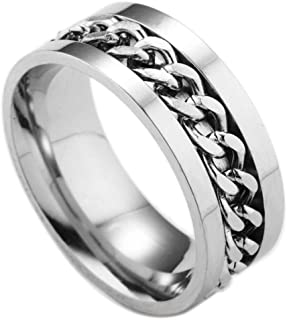 Clearance Men's Titanium Steel Chain Rotation Ring Cross Border Jewelry Ring