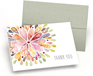 Watercolor Flower Burst Thank You Cards (Set of 10 Premium Blank Note Cards with Sage Green Envelopes Included) - All-Occasion Greeting Card Bulk Set - Proudly Made in the USA By Palmer Street Press