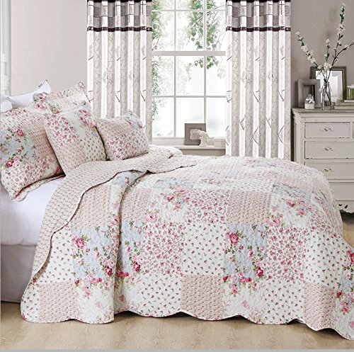Colcha vintage con diseño de patchwork floral, colcha con 2