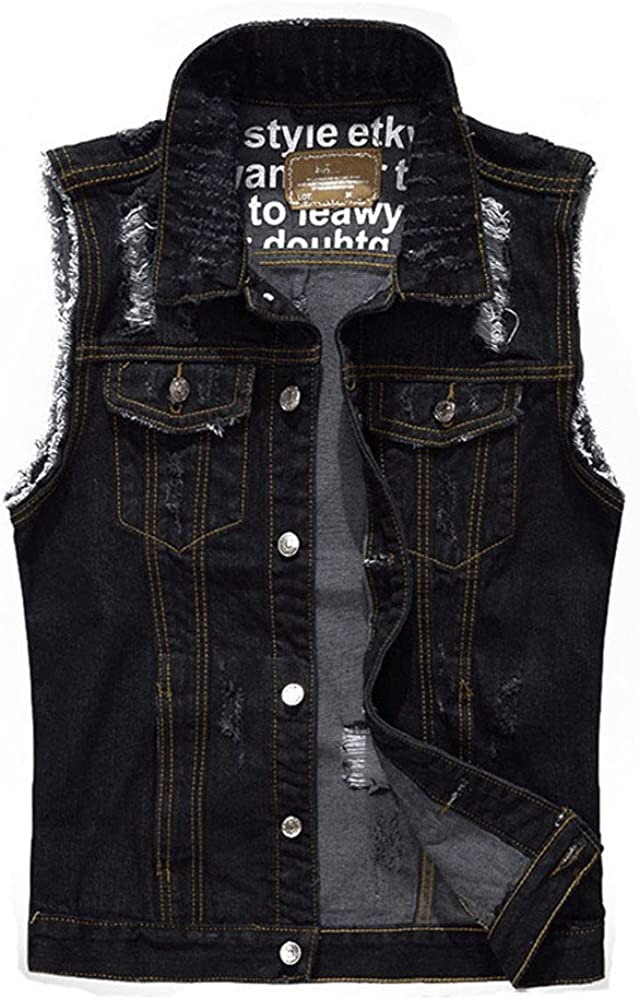ZOOB MILEY Mens Cotton Denim Vest Ripped Frayed Cowboy Jeans Waistcoats
