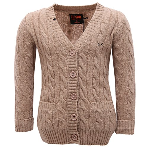 SUN 68 8344V Cardigan Bimba Wool Beige Jumper Girl Kid [2 Years]