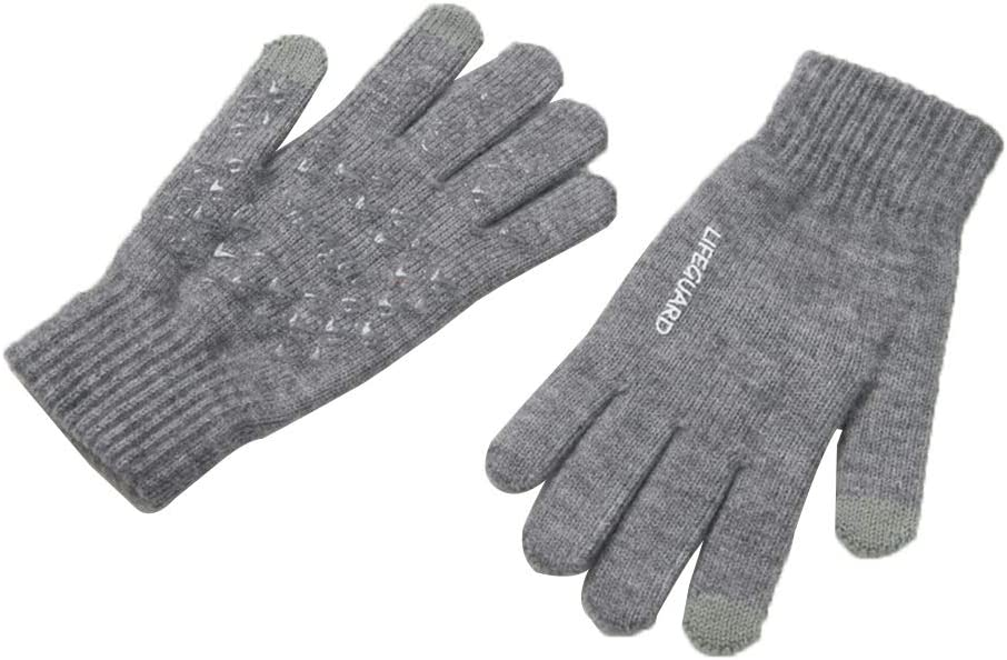 Gloves Woolen Gloves Winter Female Touch Screen Non-Slip Elastic Magic Knitted Five-Finger Gloves Female Winter Warm (Color : Gray)