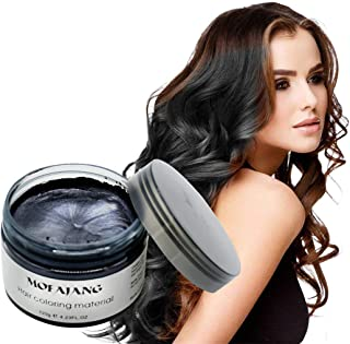 Temporary Hair Color Wax 4.23 oz-Instant Hairstyle Cream Hair Pomades Hairstyle Wax for Party Cosplay Easy Cleaning (black)