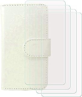 YZKJ Cover för HTC Desire 19s (6,2 tum) fodral [4 st] pansarglas skyddsfilm, flip PU läderfodral mobiltelefonfodral plånbo...