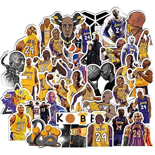 Cerealy 50 Teile Basketball Star Lakers Kobe Wasserfest Sticker für Laptop, Autos, Fahrrad, Skateboard Gepäck, Stoßfänger Sticker Hippie Aufkleber - 1 Packung