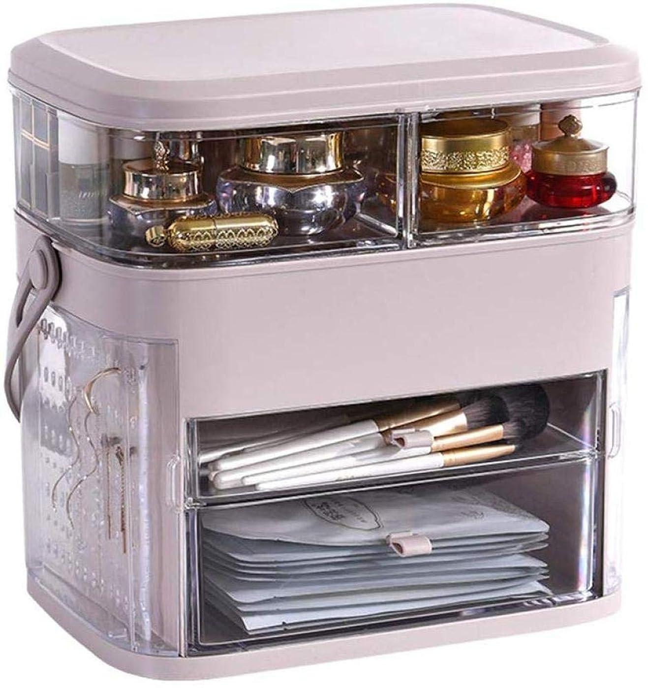 イブ職人歌詞コンパクトドレッシングテーブルオーガナイザードレッシングテーブル、強力なメイクアップオーガナイザー、メイクアップ用の丈夫なプラスチック製収納ボックス,Pink