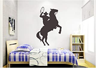 Dailinming PVC Wall Stickers Western Cattle child riding silhouette glazing den home decoration greenWallpaper86.4cm x58.4cm-Black
