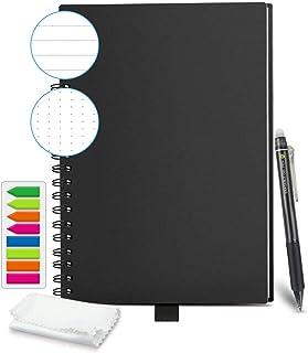 HOMESTEC Cuaderno Inteligente Reutilizable | Tamaño B5 (176x250) | Hojas borrables y adaptadas para escaneo a PDF mediante APP | Incluye Boli y Marcadores Adhesivos (Negro)