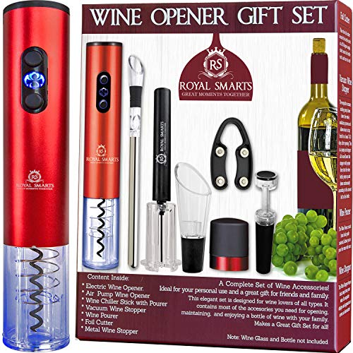Electric Wine Bottle Opener Gift Set 8 Pieces Royal Smarts | Automatic Corkscrew Wine Opener, Air Pump Opener, Chiller Stick, Pourers, Wine Vacuum Stopper| Fathers Day Gift House Warming Presents