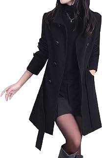 معطف رياضي نسائي كاجوال طويل من الصوف مقاس متوسط إضافي كلاسيكي بحزام خارجي