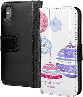 Söta ljus bjällror jul hängande design PU-läder plånbok i kort telefonfodral skydd för Samsung Galaxy A7 2018