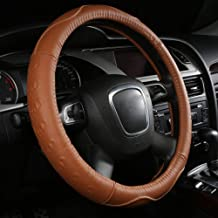 WAXCC Steering Wheel Covers Car steering wheel cover leather accessories classic wear-resistant fashion steering wheel cover, the best gift for the owner,Brown,M