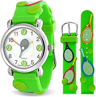 Tennis Racket Sports Waterproof Wrist Watch Time Teacher Quartz 3D Cartoon Green Silicone Wristband Round White Dial