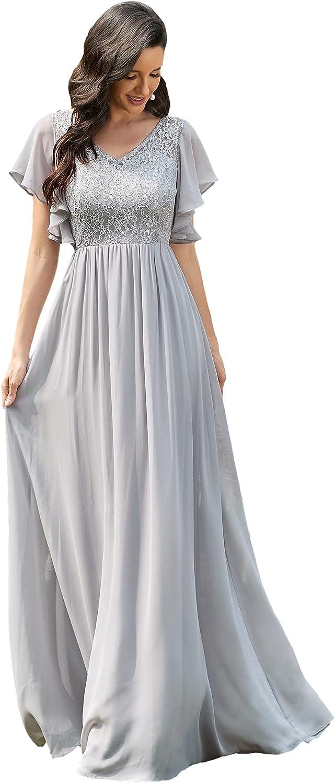 Ever-Pretty Women's Elegant V-Neck Ruffles Lace Chiffon Evening Dresses 90035