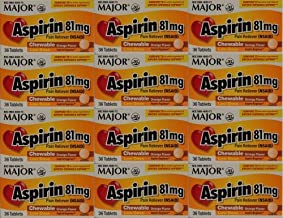 Aspirin 81mg Chewable Orange Flavored Tablets Generic for Bayer Children's Aspirin 36 Tabs per Boxe Pack of 12 Toatal 432 Tabs. by Major Pharmaceuticals