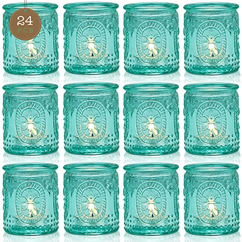 TripodBird 24 PCS Vintage Candle Holders, Votive Candle Holders Serve as Centerpieces and Party, Gift, Turquoise Blue Decor for Room/Home/Bathroom/Coffee Table/Living Room/Dining Room/ Wedding