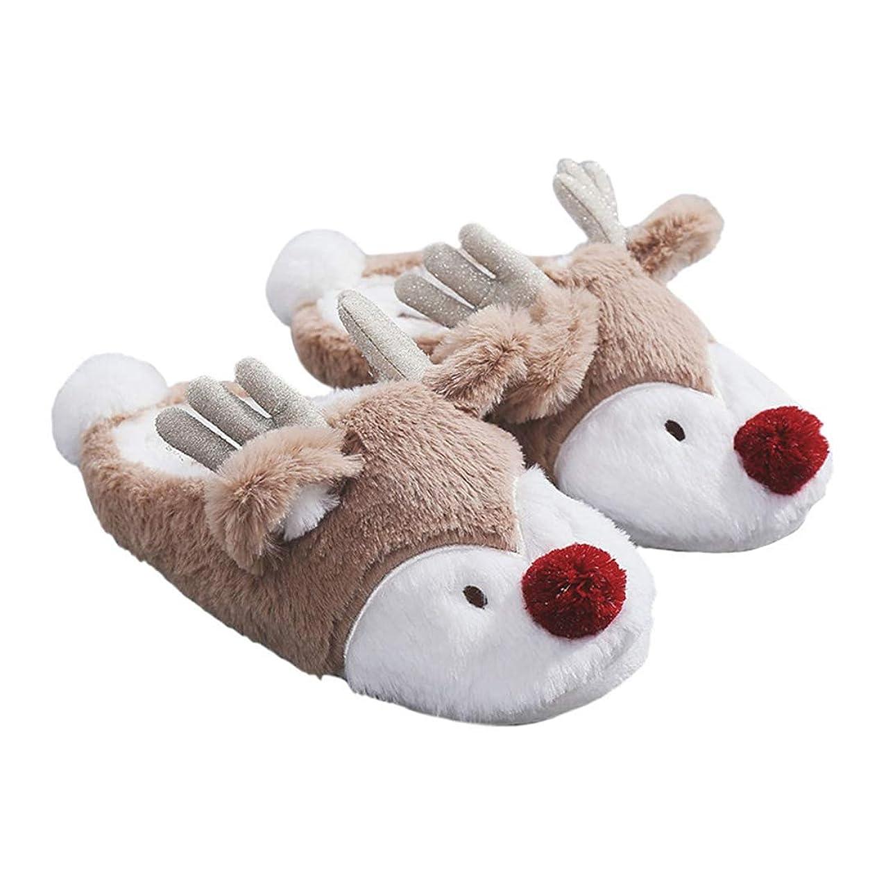 ズーム手つかずの救いトナカイ型 クリスマス コットンスリッパ 冬 レディース 大きいサイズ 室内履き 暖かい 履きやすい 滑り防止 かかと付き