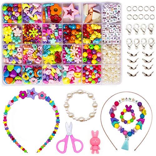 Juego de cuentas para niños, 24 tipos diferentes, para hacer joyas, collares y pulseras