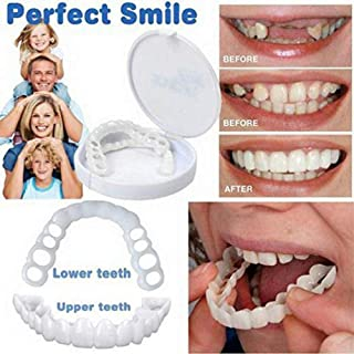 Cosmetic Teeth Veneer Instant Smile 2Pcs Comfort Fit Flex Cosmetic Teeth Denture Teeth Cosmetic veneers Fake Teeth works for Top and Bottom Instant Braces