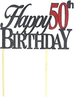 All About Details Happy 50th Birthday Cake Topper,1pc, 50th Birthday, Cake Decoration, Party Decor Multi CATH50B