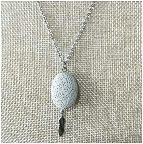 YOUZYHG co.,ltd Oval Leaf Pendant Colorful Aroma Pendant Aromatherapy Essential Oil Diffuser Necklace Jewelry Steel Chain Women Necklace (Metal Color: White) -Beige