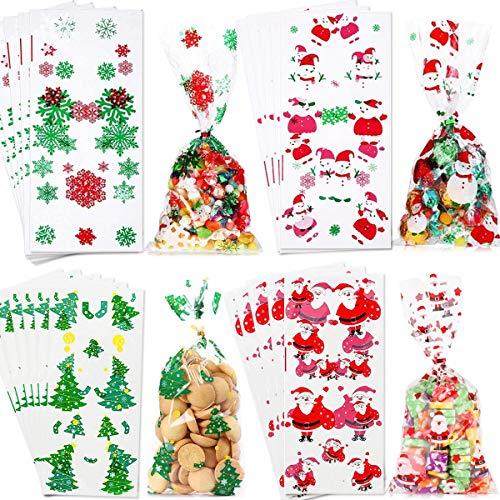 YEFAF Weihnachten Süßigkeiten Tüten, 100 Stück Weihnachten Klar Cellophanbeutel und 100 Twist Krawatten für Bonbon, Plätzchen, Lollipop Sticks, Candy, Geschenke